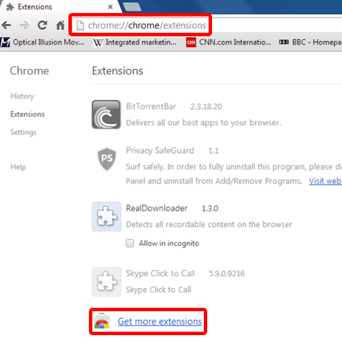 Get extensions in Google Chrome