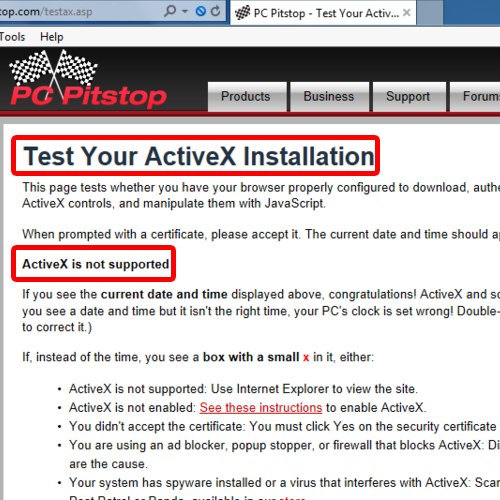 Check if ActiveX is supported