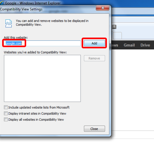 Set Compatibility View Settings