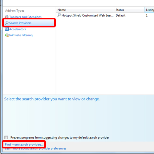 Search providers in Internet Explorer