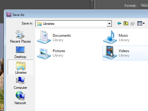 Select the destination folrer for a file