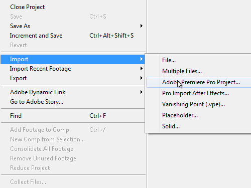 Open an Adobe Premiere Project in After Effects