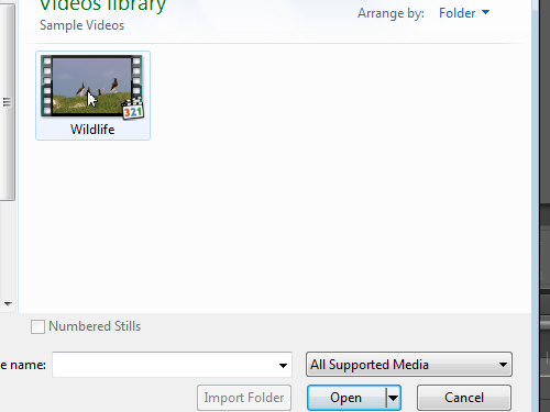 Import video into the project