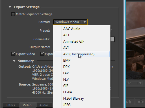 Select the output format of the video from the drop-down list