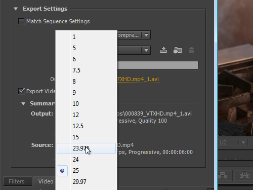 Select the frame rate value