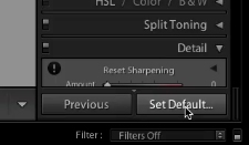 option+click on set default to save settings