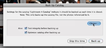 once re-opened, change lightroom backup location