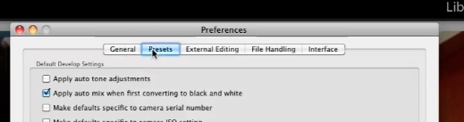 click on the presets tab