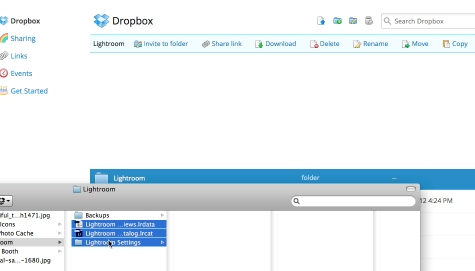 move the Previews.lrdata folder and lightroom settings folder to the dropbox folder that you just created