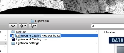 locate the Previews.lrdata file in Finder
