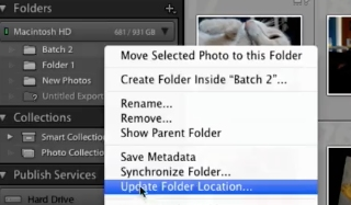 "right-click on the folder and select ""Update Folder Location"""