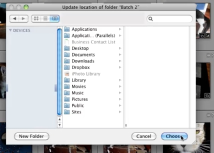 show lightroom to the right folder and select it