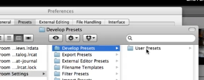 Click on Develop Presets