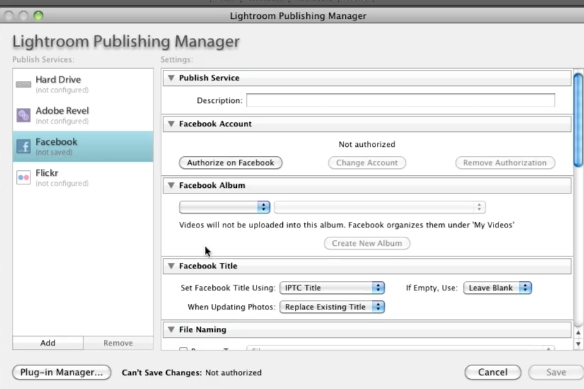 Click on the Lightroom Publishing manager Dialog Box