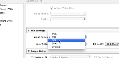 select the image format TIFF under file settings