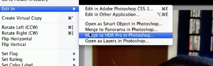 select Merge to HDR pro in Photoshop...