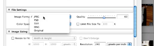choose JPEG from the image format dropdown