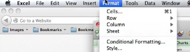 Click on format at the top in the menu bar