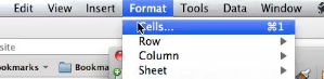 Select Cells in the format dropdown
