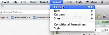 In menu choose format > Cells