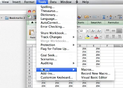 Choose Tools and go to Macros in the menu