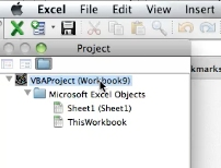 Choose your VBA project