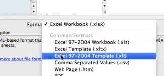 select excel 97-2004 template (xlt)