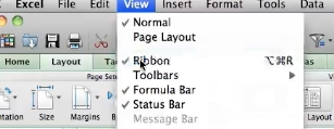 select the ribbon option with the check next to it