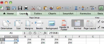 click layout in Excel