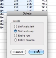 choose how you want to delete the cells and click ok