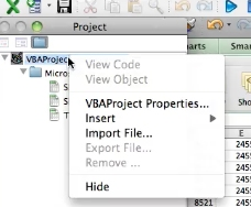 Select VBA project and right click
