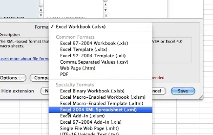 click drop down and select XML 2004