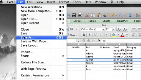 Save the sheet as a CSV file
