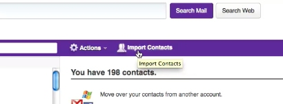Select import contacts option