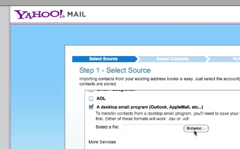 Select desktop email program and browse for the CSV file