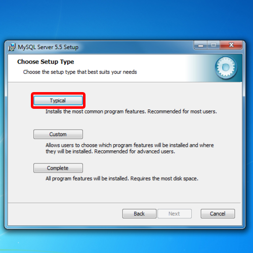 Continue with typical installation