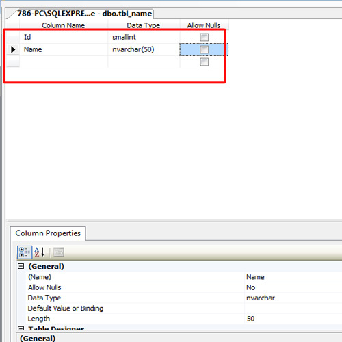 inserting tables in database