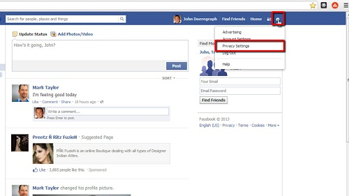 Opening Privacy Settings