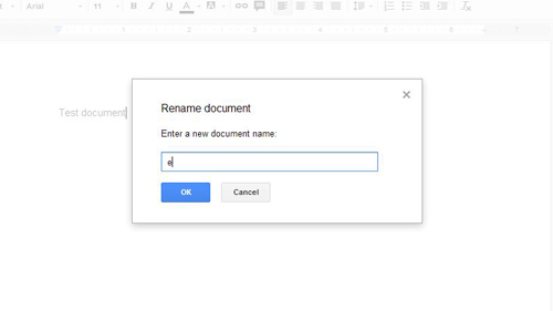 Naming the new document