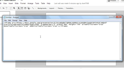 Pasting the code into an HTML editor