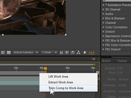 Trim the composition to work area