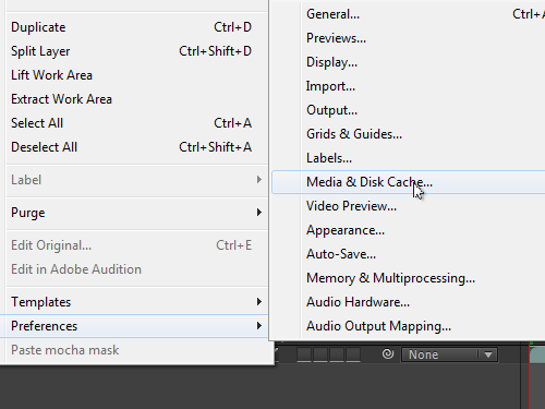 Open the Media & Disk Cashe tab in the program preferences