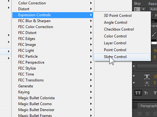 Select the Slider Control option