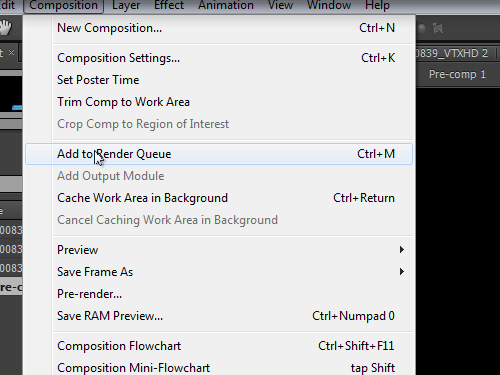 Add the Adobe After Effects project to render queue