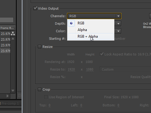 Select the channel to save the output file with transparent background