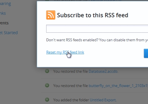 Reset my RSS feed link