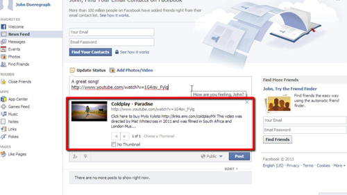 Embed YouTube Facebook Status