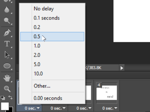 Set the delay for each frame