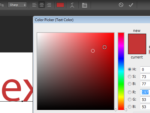 Select the text color