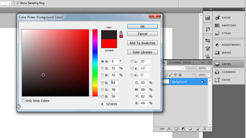 Selecting the background fill color